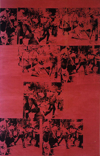 famous painting red race riot of Andy Warhol