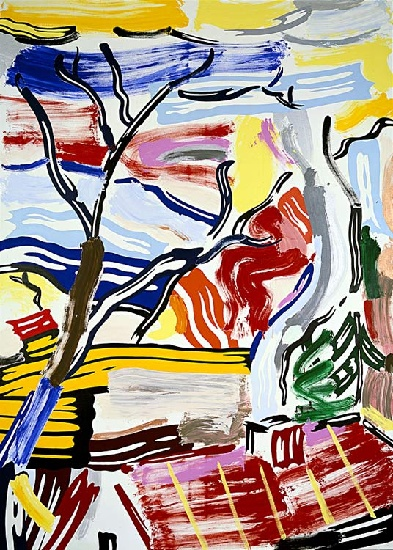famous painting landschaft mit rot dach of Roy Lichtenstein