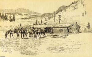 Charles Marion Russell - Wo ich lernte, die Diamant Hitch - The Old Ranch Hoover auf der South Fork des Judith