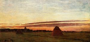 Claude Monet - Grainstacks am Chailly bei Sonnenaufgang
