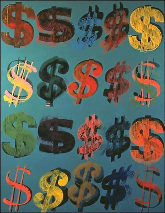 famous painting dollar zeichen of Andy Warhol