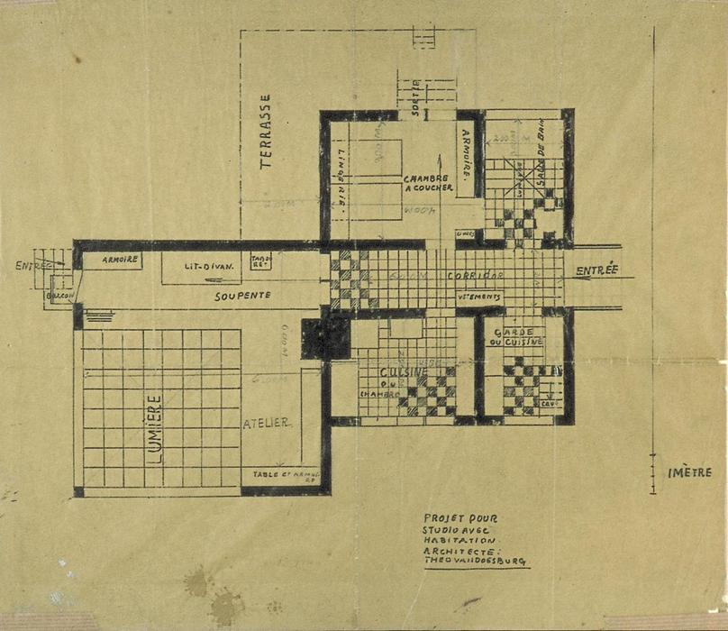 famous painting Projekt of house-studio of Theo Van Doesburg
