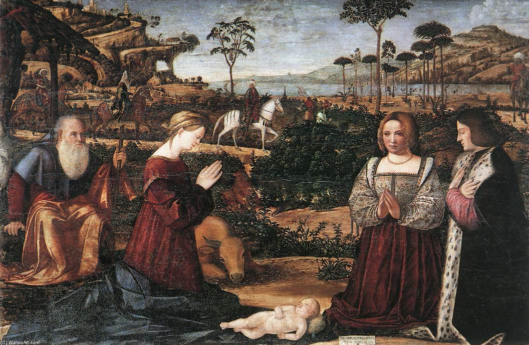 famous painting heilig familie Ankopplung zwei Die geber of Vittore Carpaccio