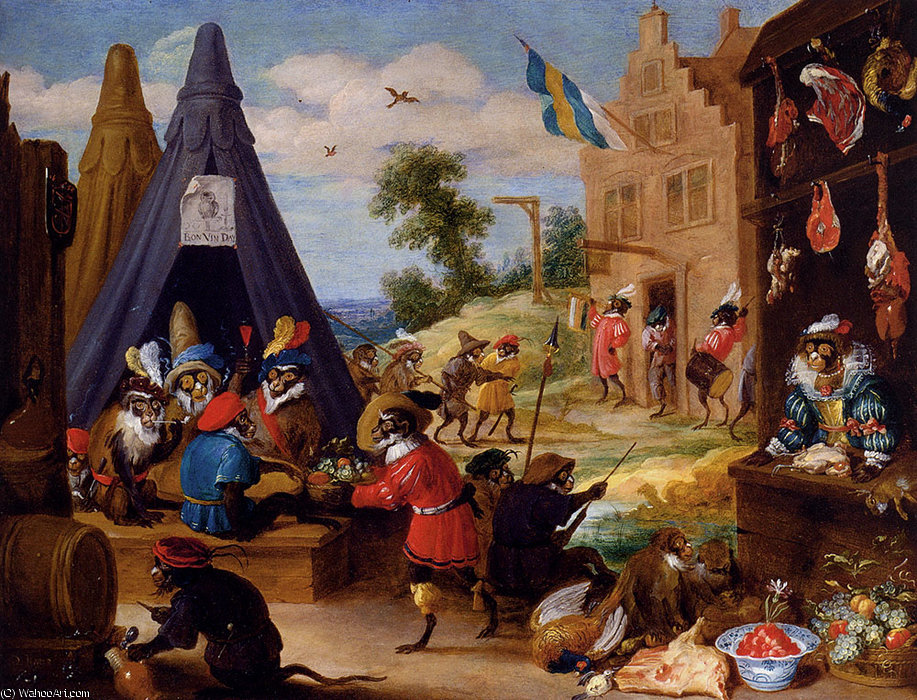 famous painting Ein Festival 0f Affen of David The Younger Teniers