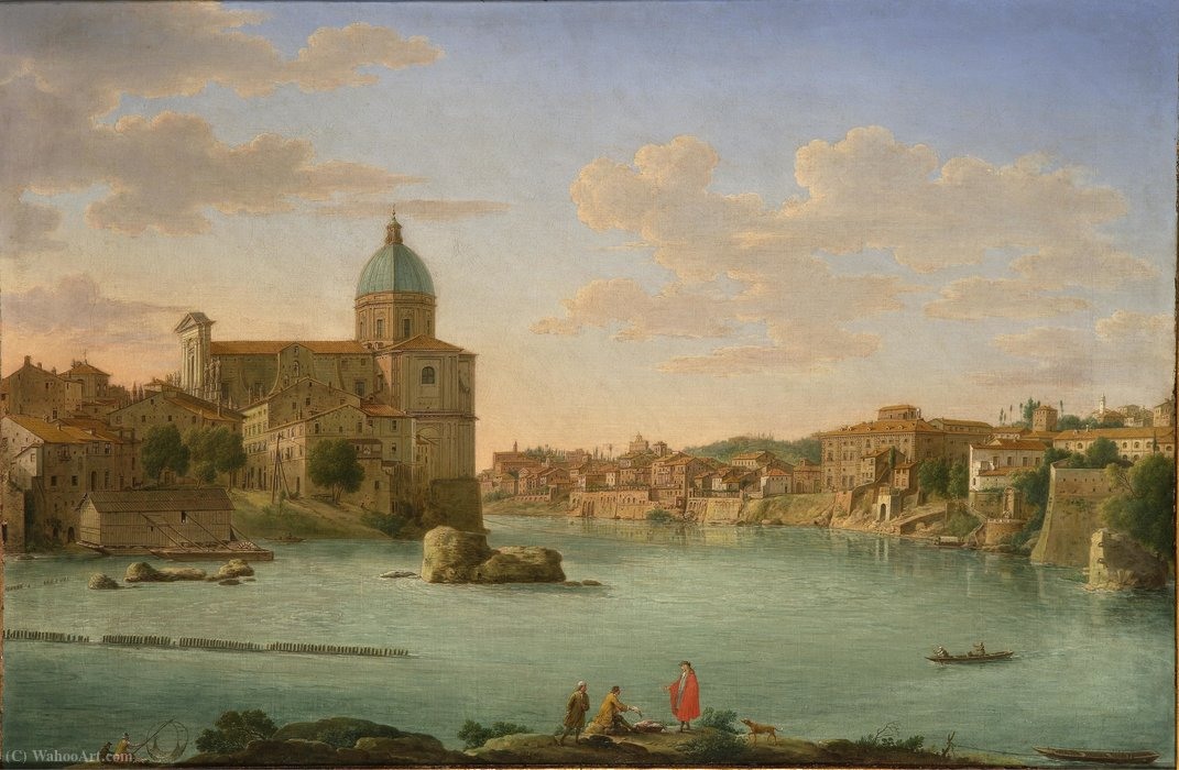 famous painting Rom A View of San Giovanni dei Fiorentini of Hendrik Frans Van Lint